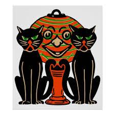 vintage halloween black cat. Unique Cat 1940 Vintage Halloween Black Cats Poster For Cat Z