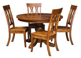 amish round dining table chairs set solid wood pedestal