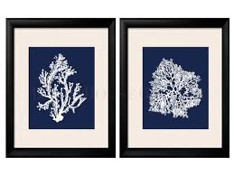 navy blue and coral wall art