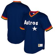 Mesh Astros V-neck Houston amp; Navy Mitchell Jersey Ness