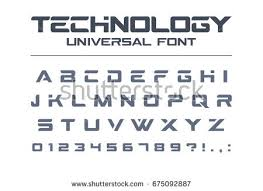 stock vector technology font geometric sport futuristic future techno alphabet letters and numbers for