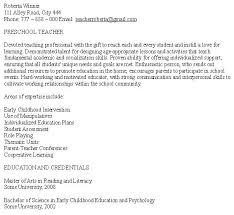 Teaching Resumes Samples Preschool Teacher Resume Free Pertaining To ...