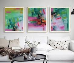 triptych wall art prints pink green