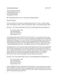 Letters To Thomas Marshall Gc Evp Usps Re Certified Mail Failure