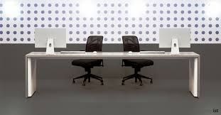 long office table. tre long white bench desk office table o