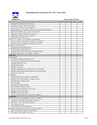 Assessment 2 Year Old Page 2 Of 3 Preschool Checklist