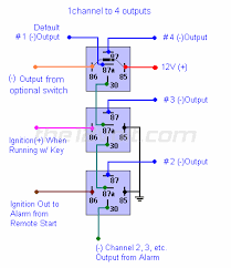 special applications with spdt relays 12 Volt 30 Amp Relay Wiring Diagram one channel to four outputs 12 volt 30 amp relay wiring diagram