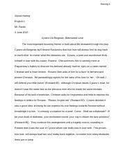 copyofcyranodebergeracjournals cyrano de bergerac journals act  3 pages cyrano de bergerac final mla essay