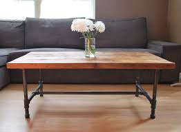 Living Room Wood Furniture Wood Coffee Table With Steel Pipe Legs Made Of Reclaimed Wood
