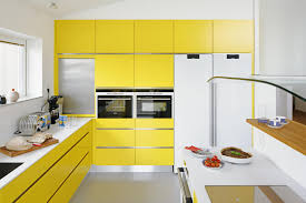 White And Yellow Kitchen Home Design Awesome White And Black Brick Wall Background With