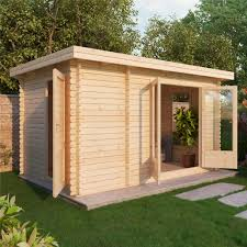 Escape Log Cabins: 4m x 2.5m Premier Garden Pent Log Cabin (Single Glazing)  + Free Floor & Felt & Safety Glass (34mm Tongue and Groove)