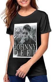Amazon.com: BUNRUIQ Womens Johnny Depp Poster Perfect Round Neck T-Shirts  Black: Clothing