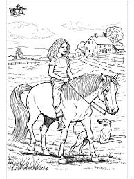 Girl Riding Her Horse With Dog Happily Running Along Detailed Farm