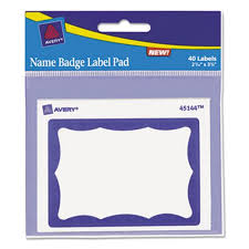 Avery Nametag Avery Name Badge Label Pad 2 7 16 X 3 3 8 Blue White 40 Labels Ave45144