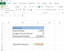 Auto Loan Calculator In Excel How To Calculate A Monthly Loan Payment In Excel Mortgage
