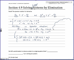 diffeial equations 4 9 solving systems of odes by elimination part 1 of 2