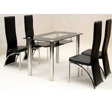 best heartlands vegas small glass dining table set 4 chairs for