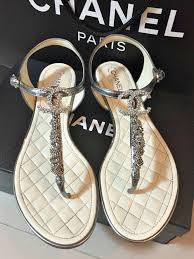 chanel sandals. 100% auth chanel 15p cc logo crystal chain leather thong quilted sandals receipt chanel sandals f