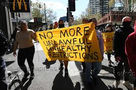 Police monitor the protest at flinders street station in melbourne's cbd. Protesters March Through The Cbd During An Anti Lockdown Protest In Melbourne Sunday September 13 2020