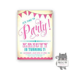 8th Birthday Party Invitations Birthday Invitations Girl Pink And Turquoise Invitation Circus