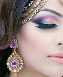 royal purple bridal eye makeup with winged tip