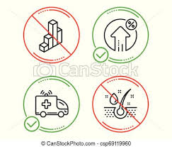 Ambulance Car Loan Percent And 3d Chart Icons Set Serum Oil Sign Vector