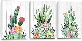 Amazon Com Canvas Wall Art Cactus Framed Prints Picture Bathroom Wall Decor Modern Popular Wall Decorations Wall Decor For Bedroom Pink Green Cactus Size 12 X 16 X3 3 Pieces Panels Easy To Hang