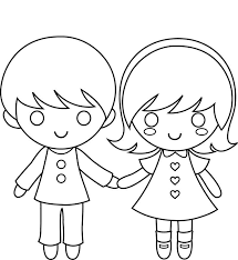 (holding hands, walk around in a big circle) round and round. Girl And Boy Colour In Template Pdf Coloring Pages For Boys Valentine Coloring Pages Valentines Day Coloring Page