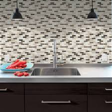 Smart Tiles Kitchen Backsplash Minimalist Kitchen Area With Brown Black Glass Mosaic Smart Tile