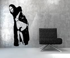 banksy mona wall decal vinyl art stickers free awesome  on banksy wall art sticker with charming pvc x cm one piece wall decal tree vines birdcage wall art