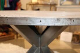 industrial round dining table stainless steel steel and wood slat industrial round dining table for