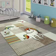 Kinderteppich Kinderzimmer Lila 3 D Muster Einhorn Motiv