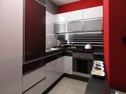 Small Kitchen Makeovers With White Black And Red Kitchen Design