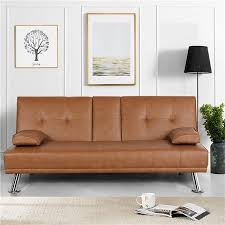 Yaheetech Modern Faux Leather Futon <b>Sofa Bed with Armrest</b> ...
