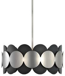 mid century modern graphic circles drum pendant chandelier round silver black contemporary pendant lighting by my sy home