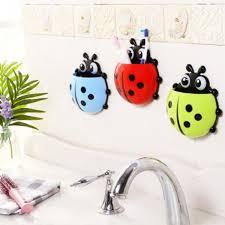 Bathroom Suction Hooks Cute Ladybug Insect Toothbrush Wall Suction Bathroom Sets Cartoon