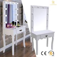 white vanity makeup dressing table set w 10 led bulbs lighted mirror wood desk