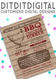 Bbq Fundraiser Flyer Bbq Chicken Dinner Menu Fundraiser Flyer 5x7 Invite Etsy