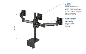 three articulating arm monitor stand practical features