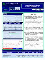 Hindustan Zinc Net Profit Declines By 2 58 Y O Y During Q1fy15