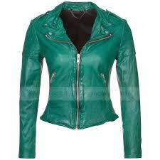 womens muubaa presley green leather biker jacket zoom womens