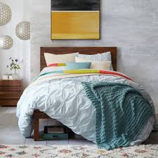 simple bedroom with organic cotton pleated bedding from west elm white cotton organic pintuck duvet