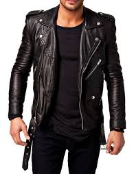 men s new motorcycle leather cool black genuine lambskin biker jacket mj37
