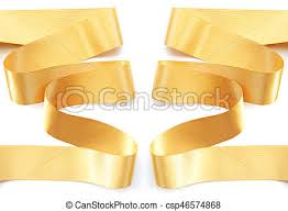 gold ribbon border golden ribbon border isolated on white clipping path stock image