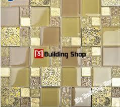 yellow gold glass mosaic kitchen wall tile backsplash rnmt080 resin