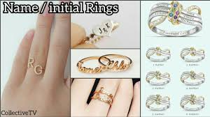 Gold Initial Ring Design Name Ring Custom Initial Ring Gold Initial Ring Designs