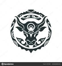 тату бык в полинезийском стиле векторное изображение Misima