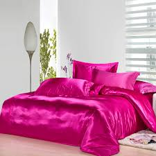 hot pink silk bedding set satin sheets luxury queen full twin quilt duvet cover super king size bed linen bedspreads double 4pcs in bedding sets from home