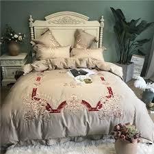 luxury embroidery brown bed set queen king size bedding set egyptian cotton duvet cover bed sheet set fitted sheet parure de lit king size bedding king size