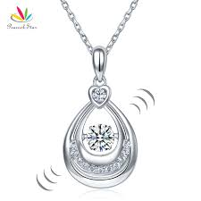 dancing stone water drop pendant necklace solid 925 sterling silver birthday gift cfn8092